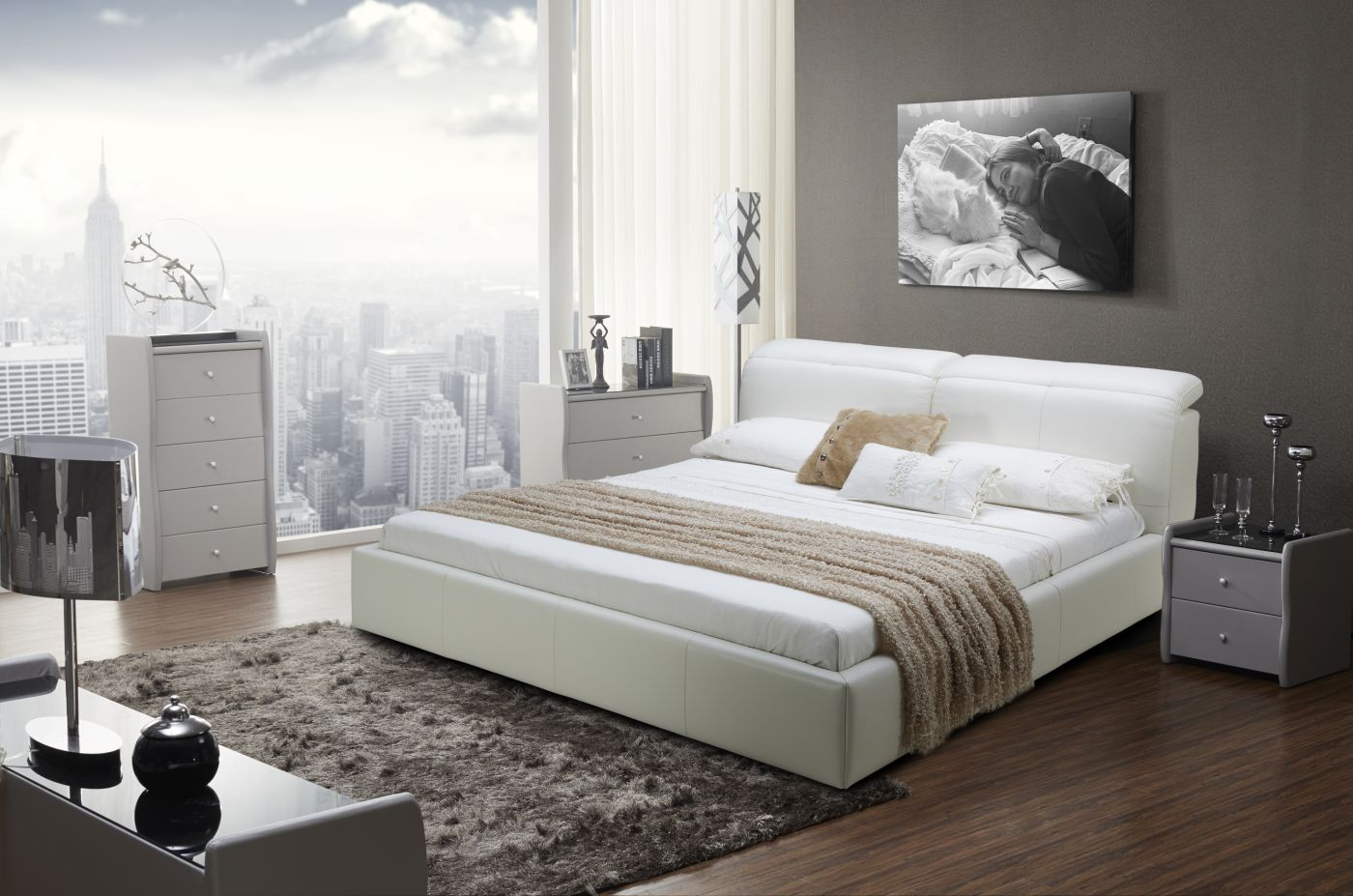 Graceful Leather Modern Platform Bed San Jose California