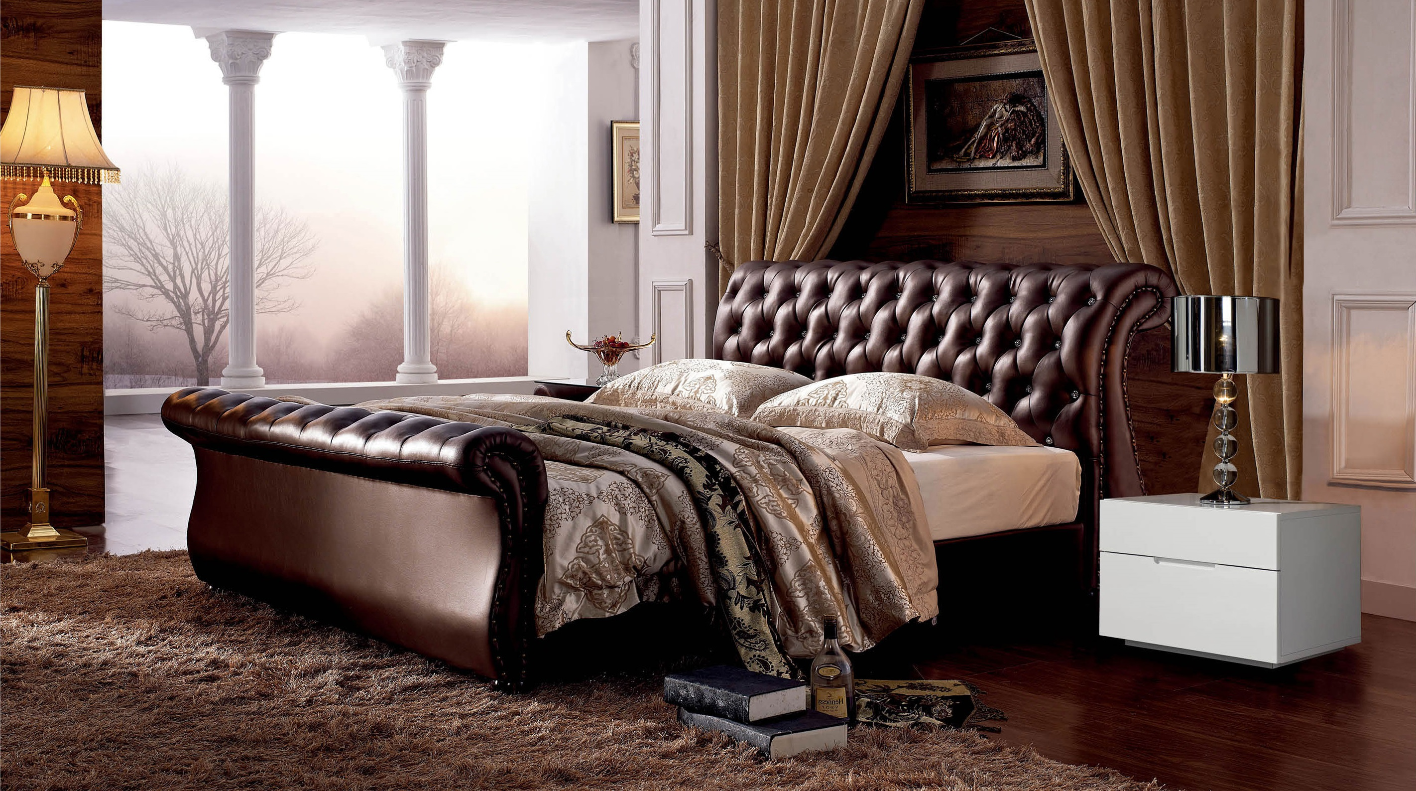Stylish Leather Platform And Headboard Bed Columbus Ohio