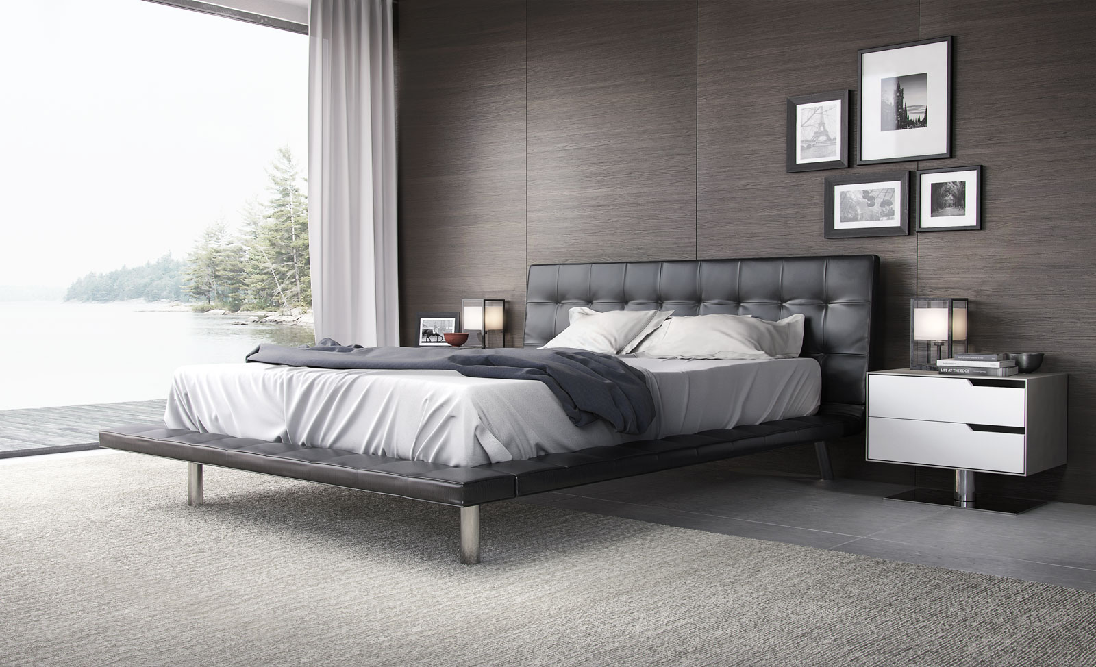 High End Modern Furniture: Fashionable Leather High End Platform Bed New Orleans