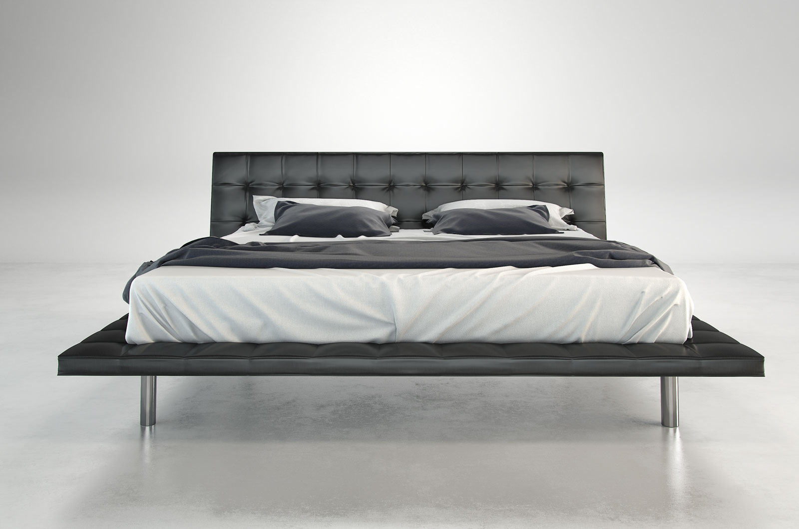 Fashionable Leather High End Platform Bed New Orleans