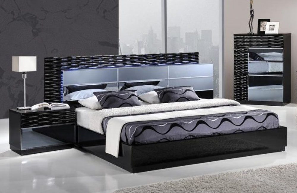 lacquered exclusive quality platform and headboard bed san