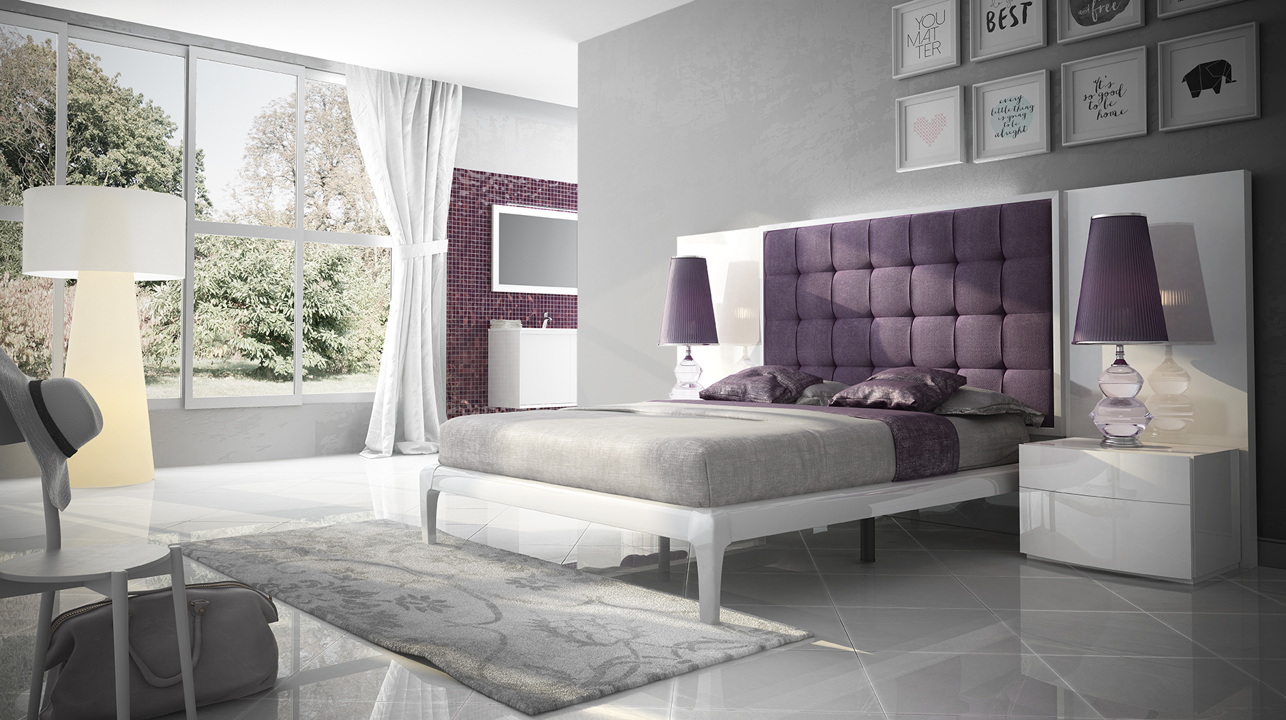 Lacquered Elegant Wood High End Platform Bed With Lights Chicago Illinois Fenicia Spain