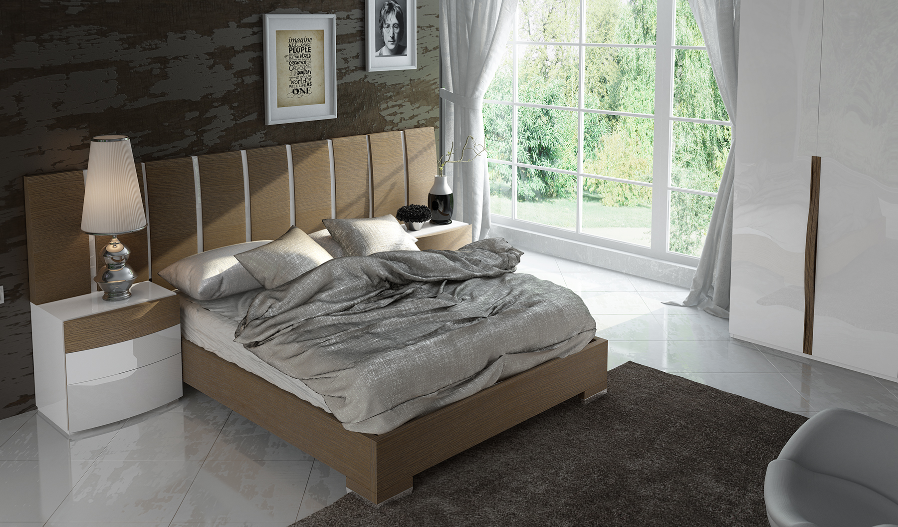 Roma Walnut Contemporary Bed: Walnut Platform Bed With Unique Accented Headboard Newbury