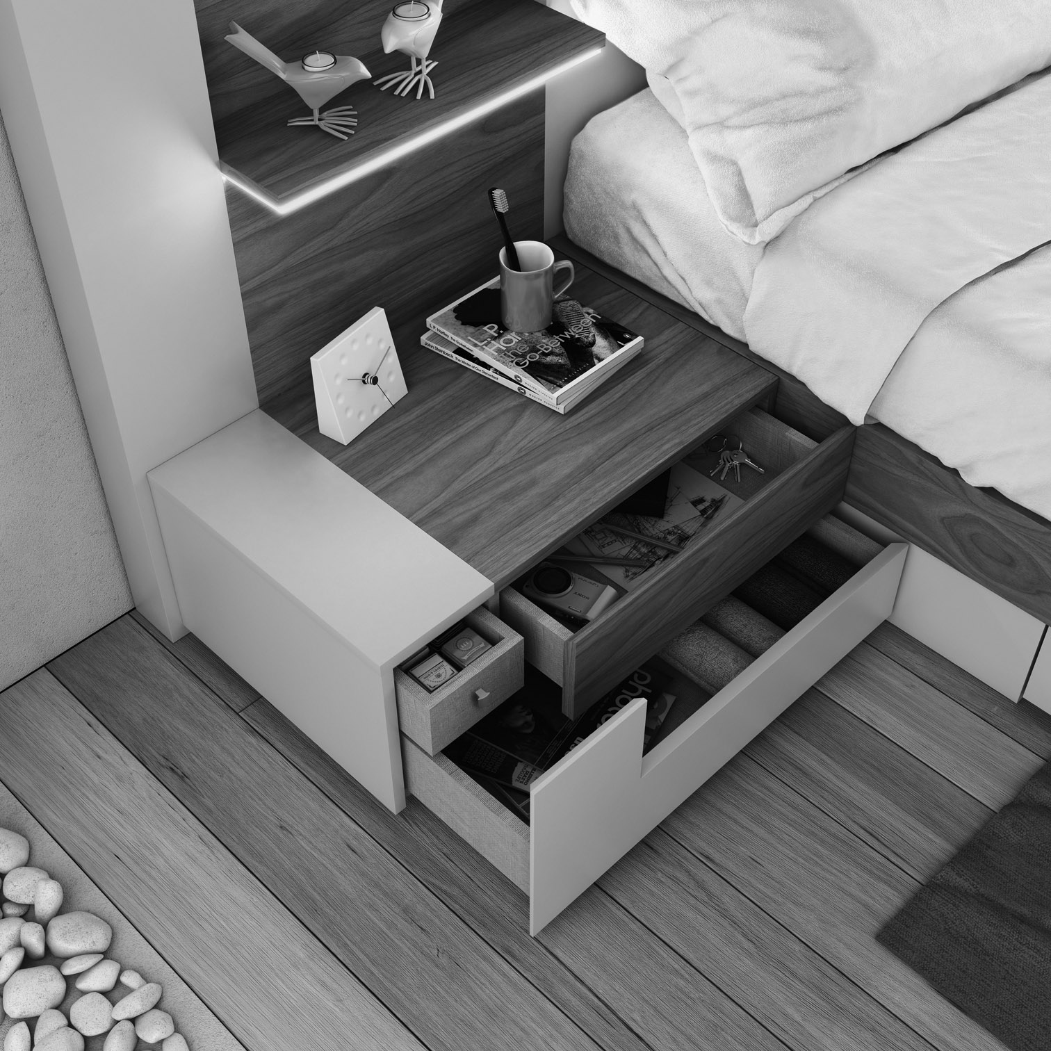 Elegant Wood Luxury Platform Bed with Drawers - Click Image to Close