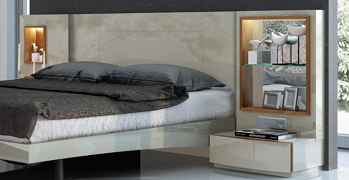 Lacquered Exquisite Wood Modern Platform Bed Larger Image
