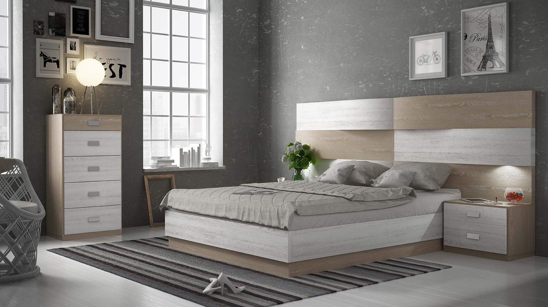 Matrimonio Bed Info : Graceful wood platform and headboard bed with extra