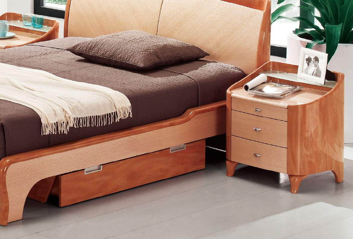 lacquered elegant wood platform and headboard bed with