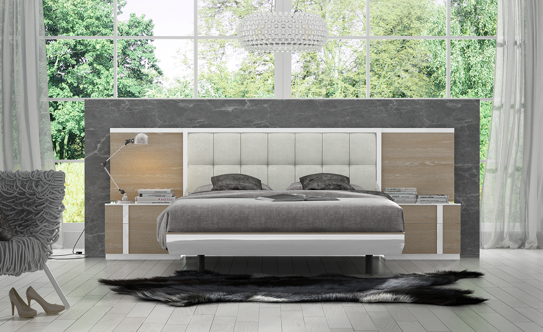 Sophisticated Quality Platform And Headboard Bed Charlotte
