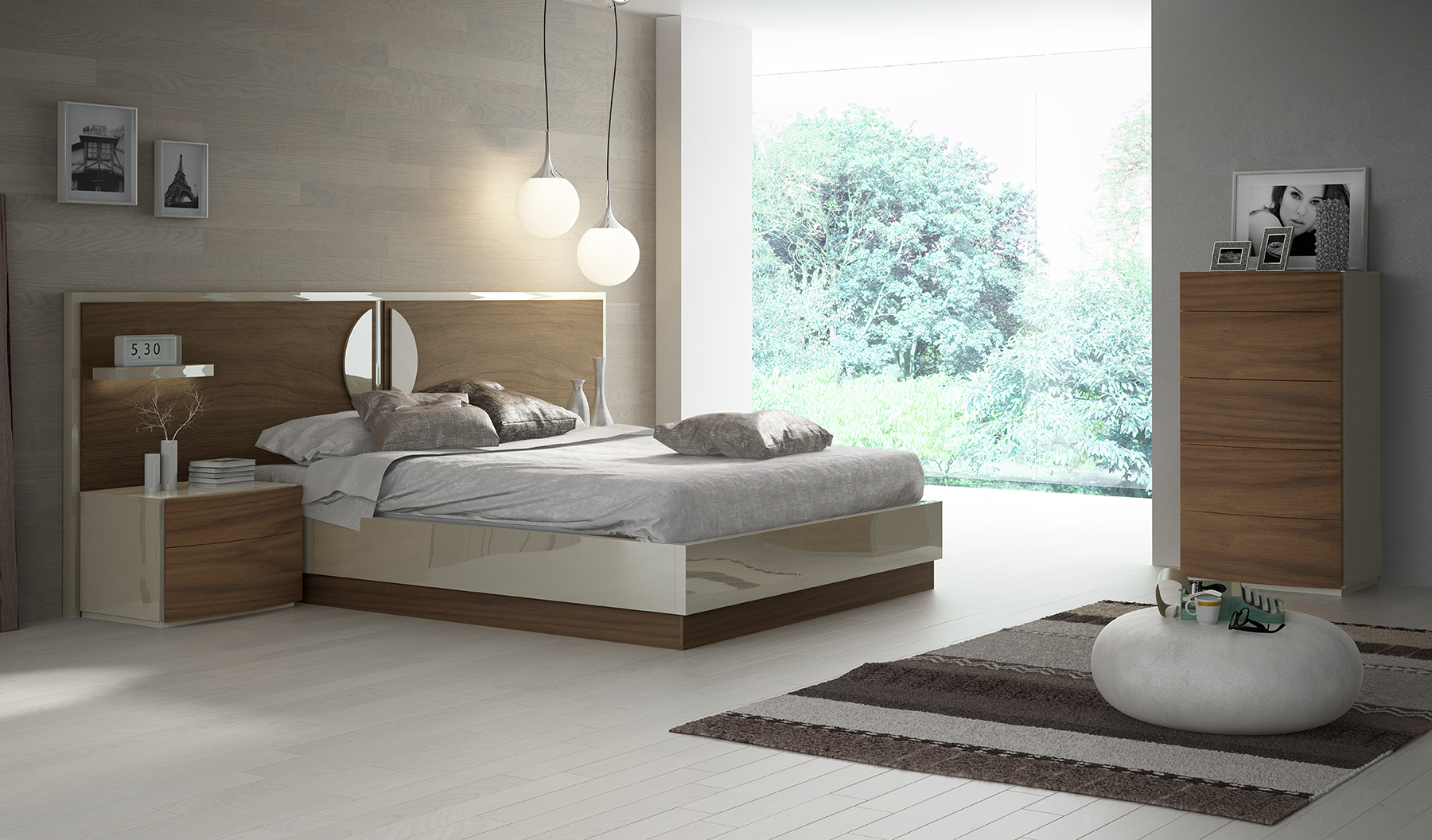 Lacquered Elegant Quality Elite Platform Bed with Extra Storage