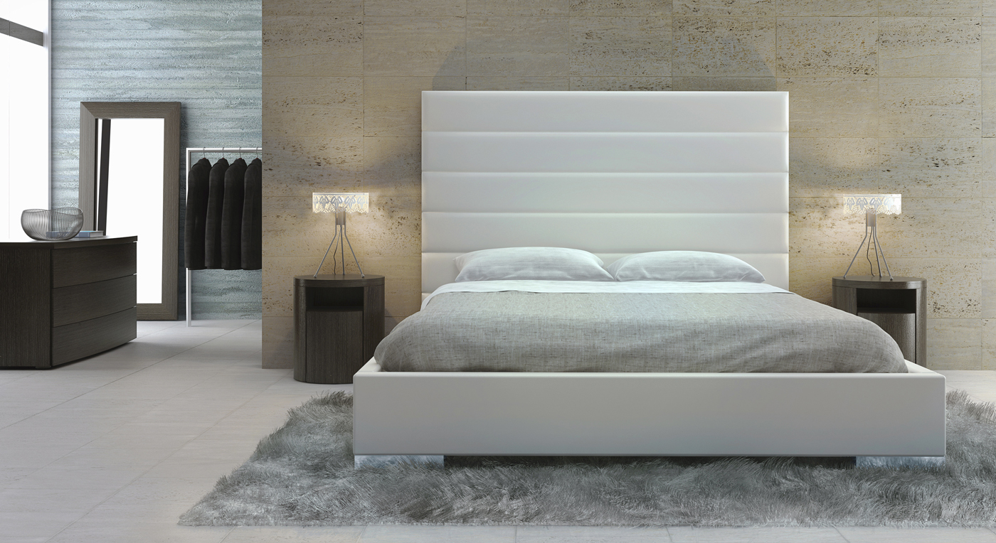 Exquisite leather high end platform bed long beach - Tete de lit cuir vieilli ...