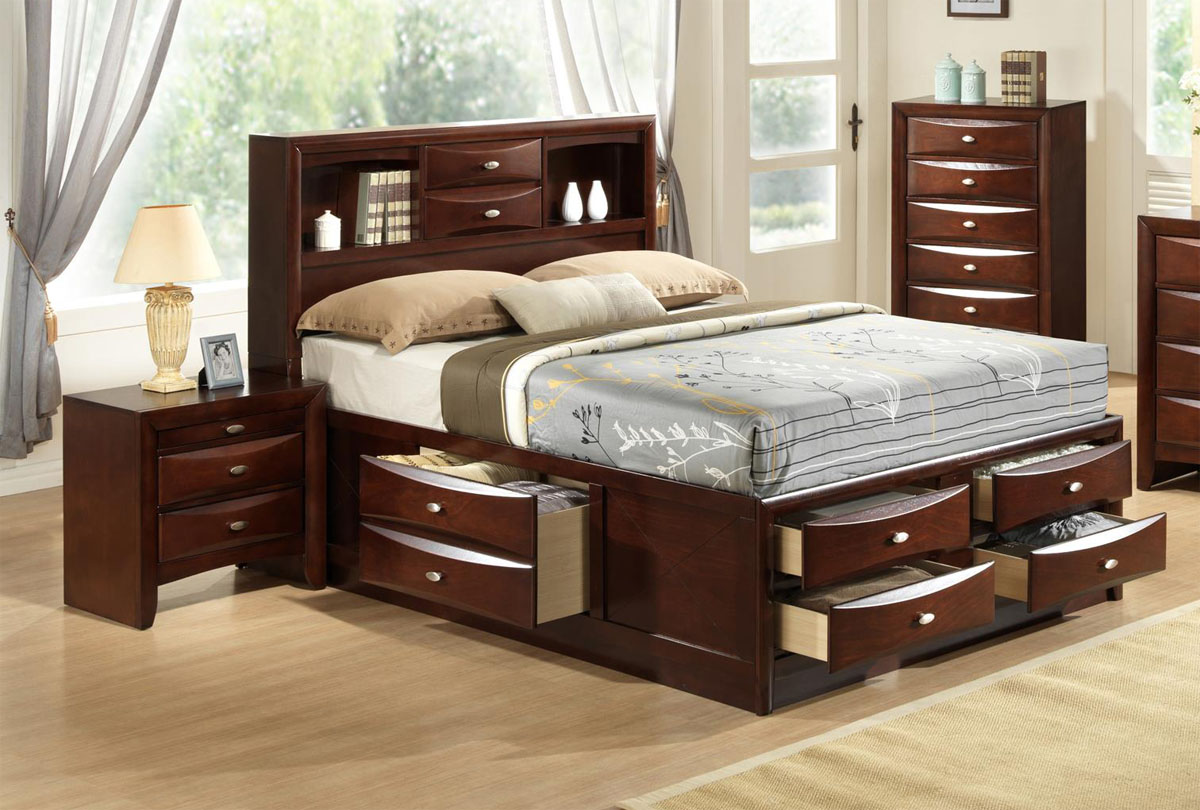 Wooden Beds With Storage ~ Exquisite wood elite platform bed with extra storage