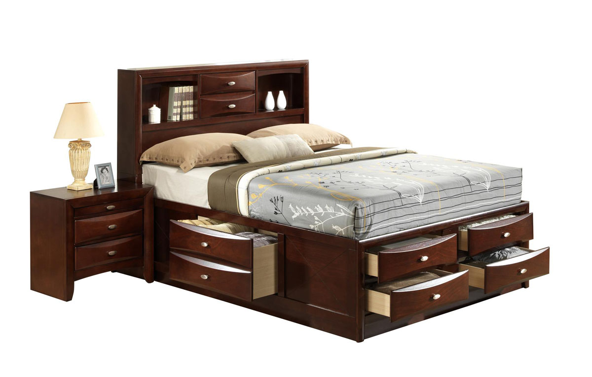 exquisite wood elite platform bed with extra storage