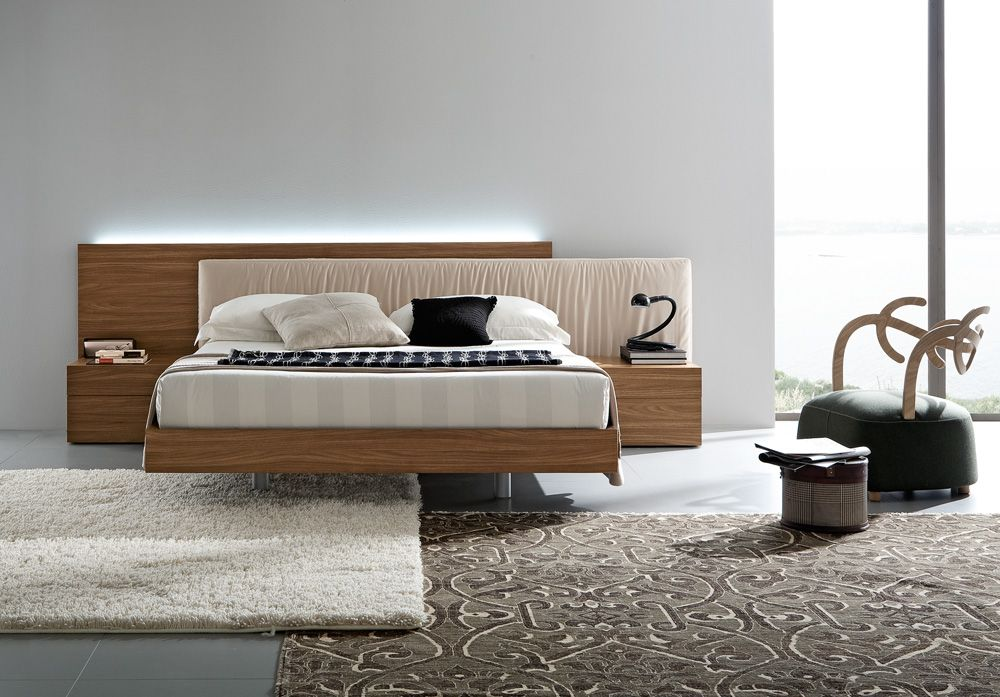 Fabric And Wood Platform Bed