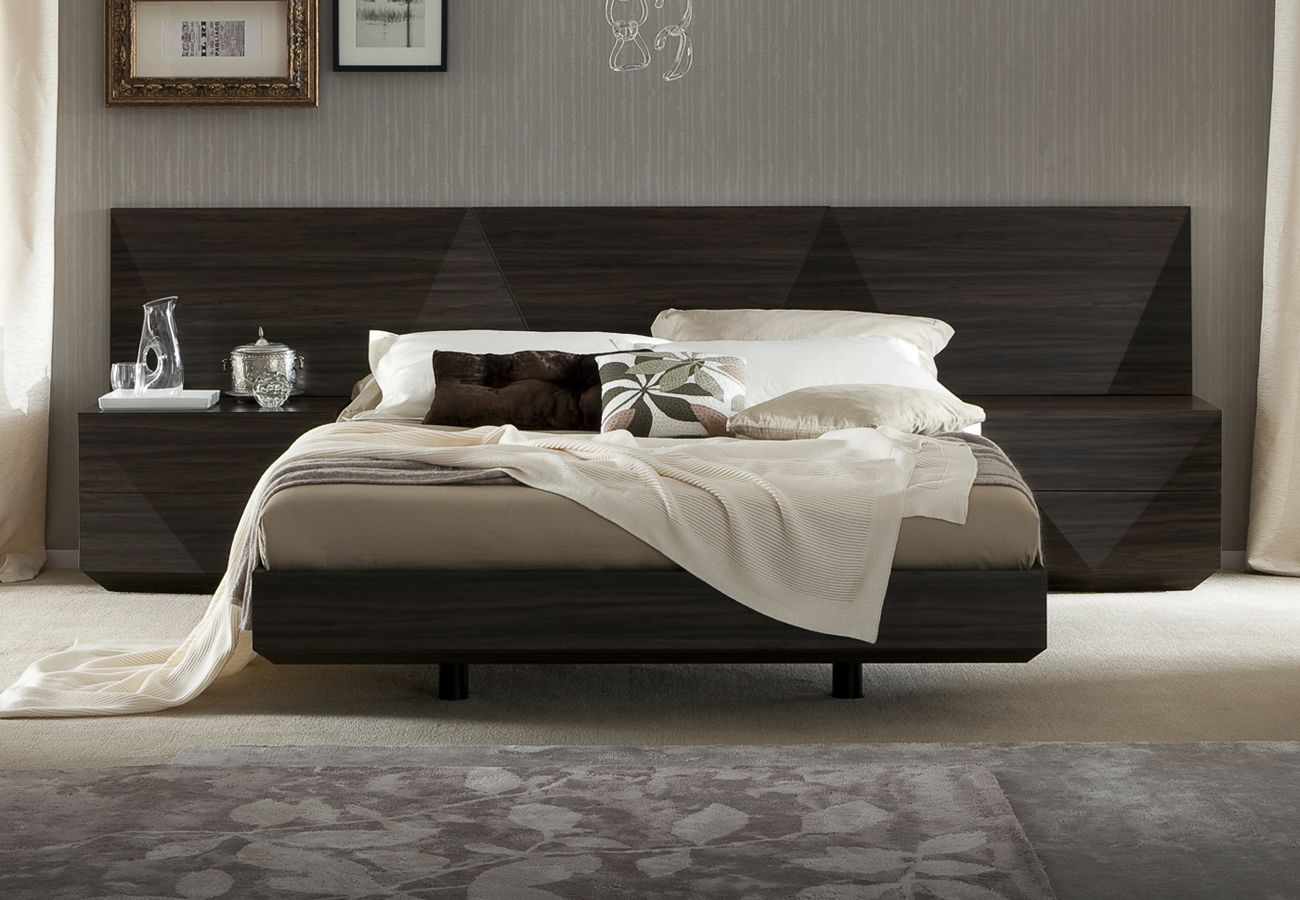 made in italy wood luxury platform bed with two tone headboard