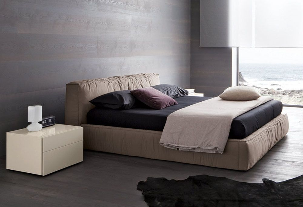 Lacquered made in italy nano fabric elite platform bed for Italian sofa bed designs