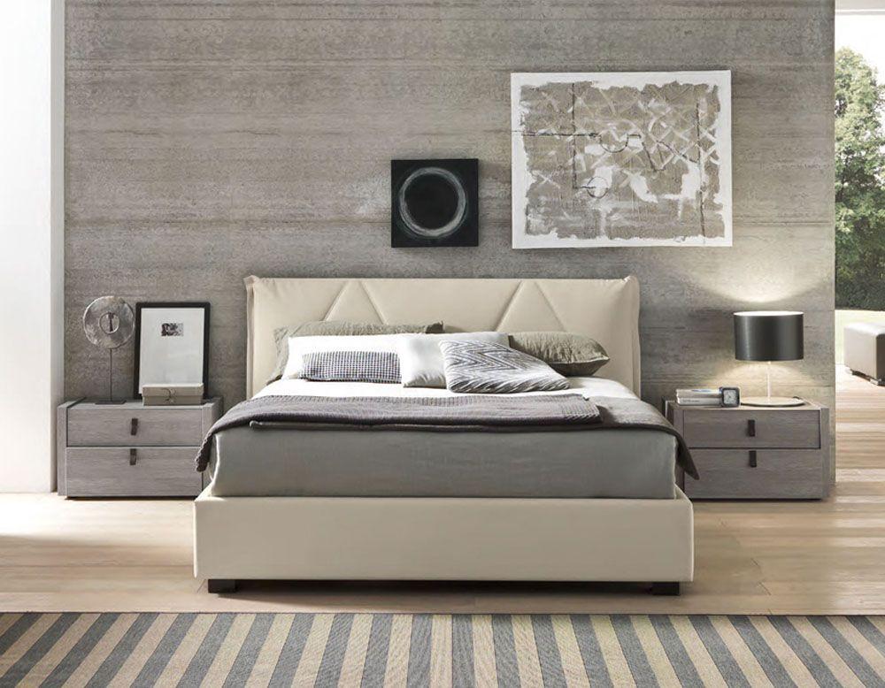 Made in italy leather platform and headboard bed with for Bedroom set and mattress
