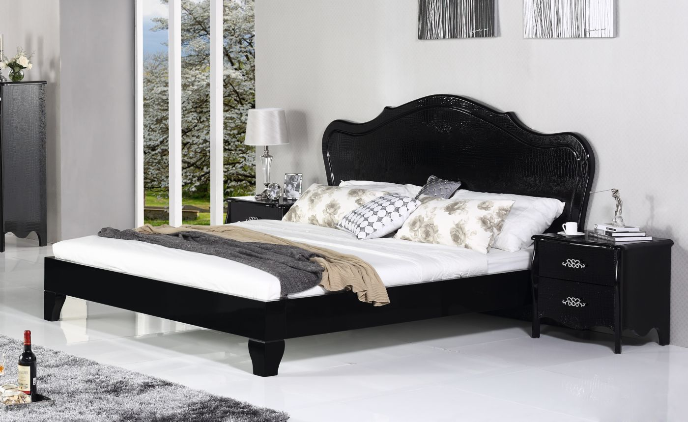 Exclusive leather platform and headboard bed indianapolis for Bedroom furniture indianapolis