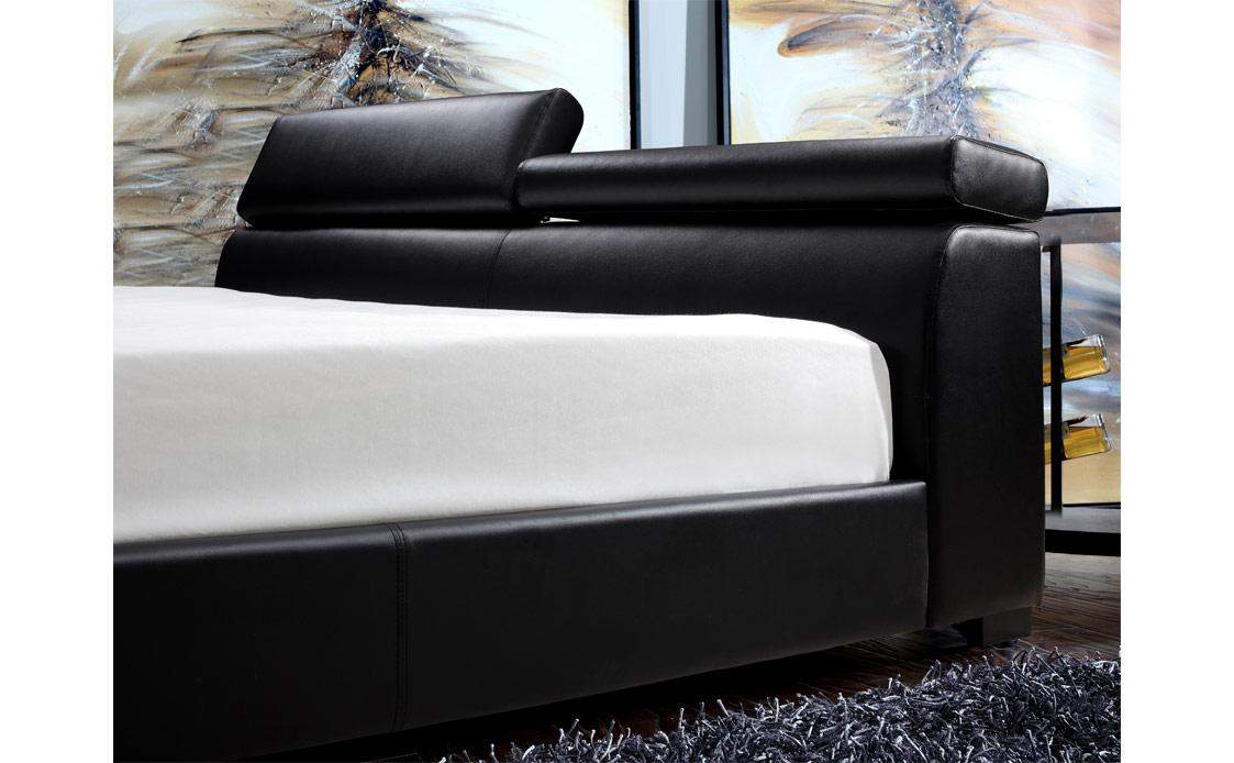 Exquisite Leather Platform And Headboard Bed with Extra Storage - Click Image to Close