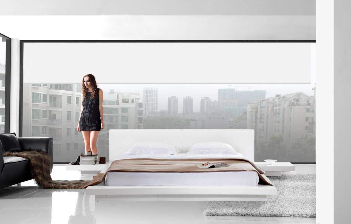 Bonded Leather Low Profile Platform Bed Frame W Paneled: Modern, Luxury And Italian Beds. Lift Up Platform Storage Beds