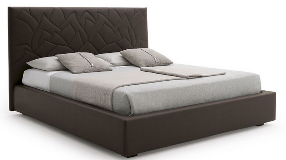 Made in Italy Leather Elite Platform Bed with Extra ...