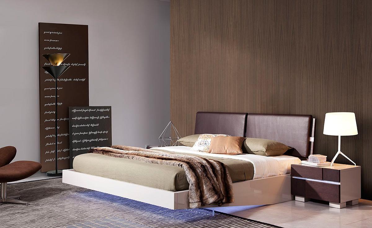 fashionable leather luxury platform bed with floating effect  - modern platform beds master bedroom furniture