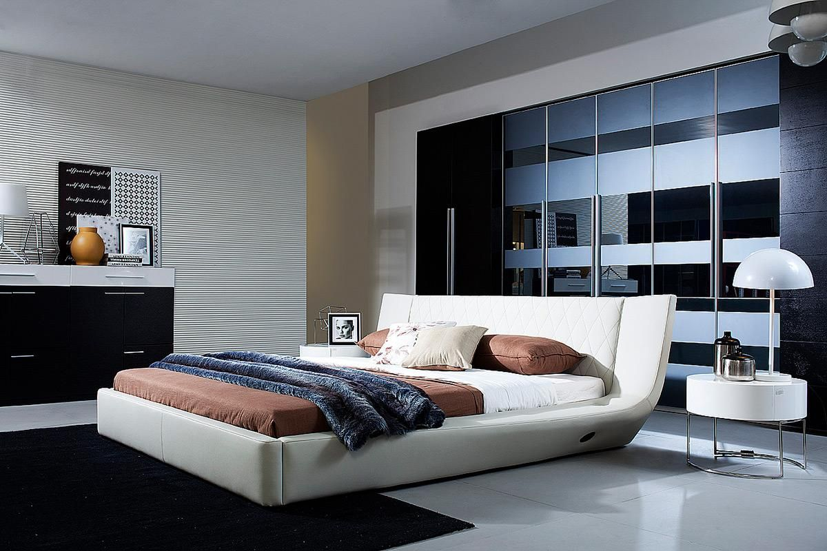 Exclusive leather platform and headboard bed memphis for Furniture bed design