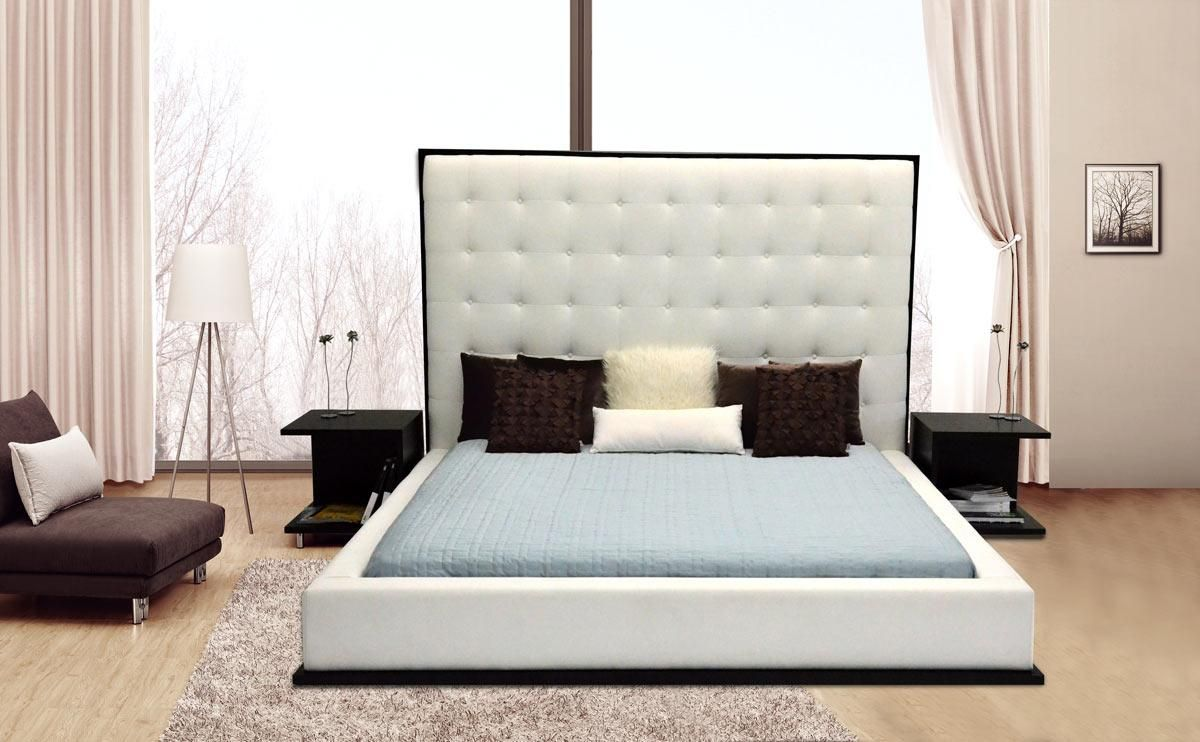 Exquisite leather luxury platform bed boston massachusetts for Leather headboard designs
