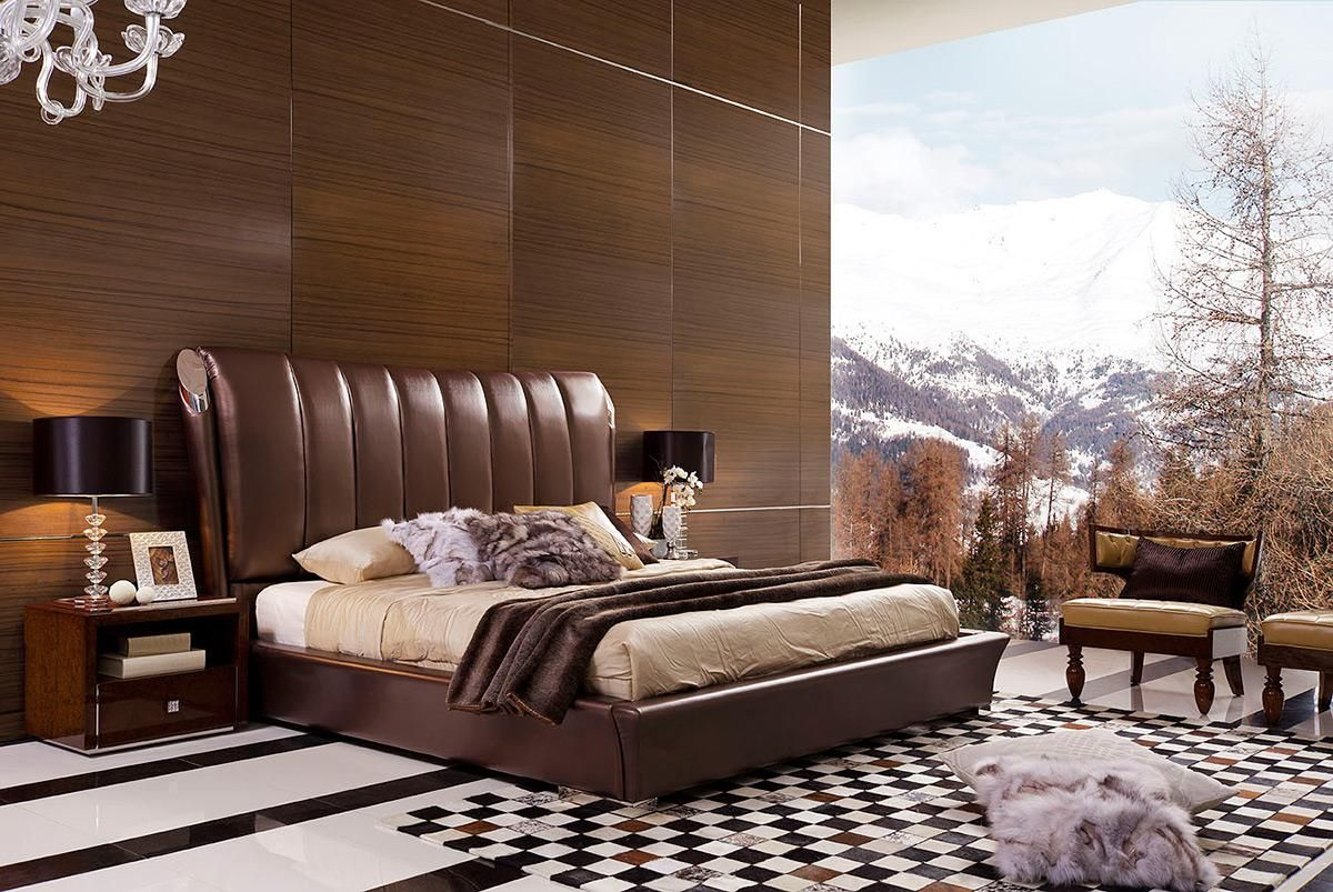 Luxury Brown Leather Platform And Headboard Bed Luxury Italian Design