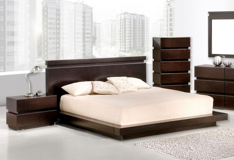 High class wood platform and headboard bed new orleans for New modern bed design