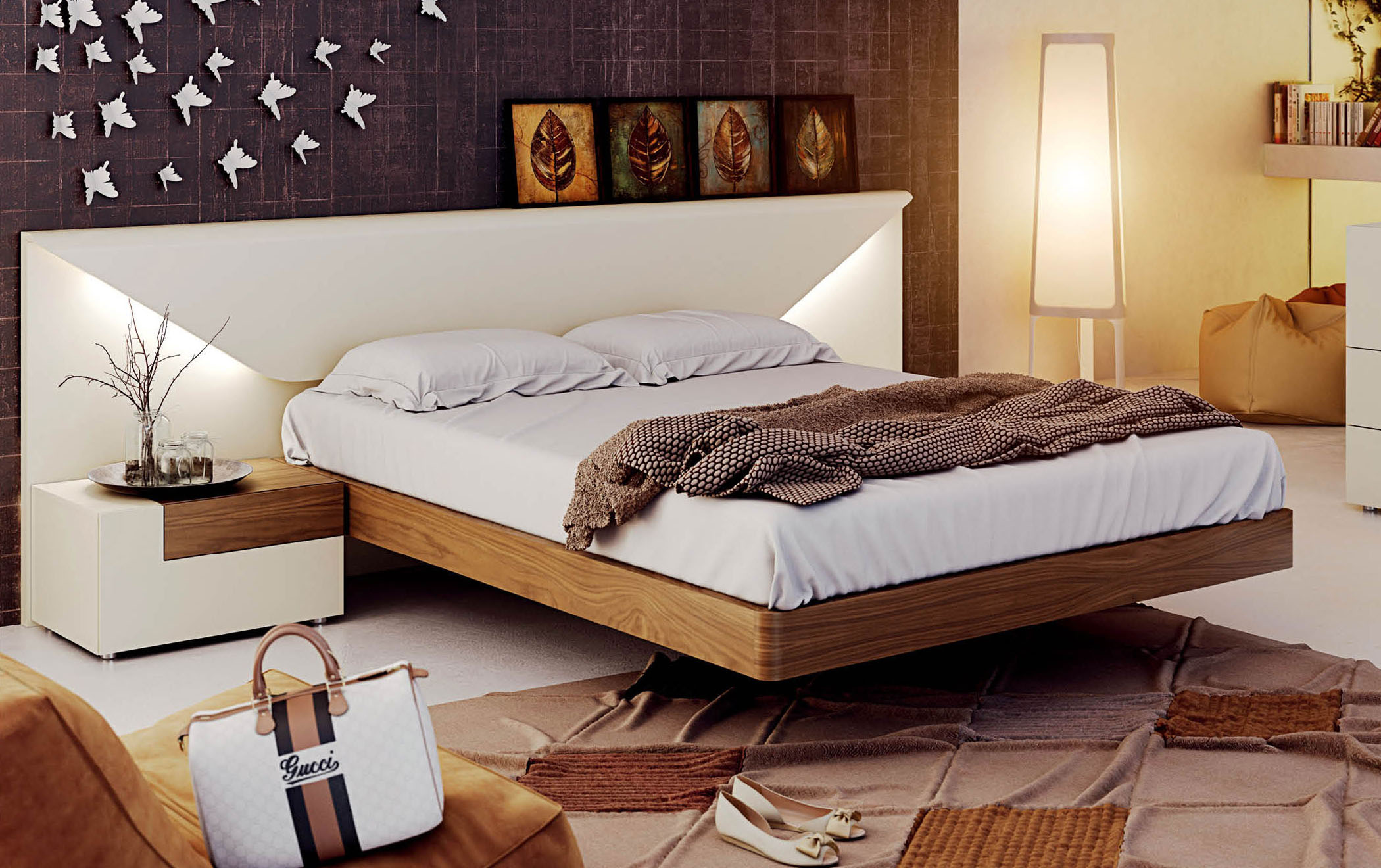 Lacquered made in spain wood luxury platform bed fort