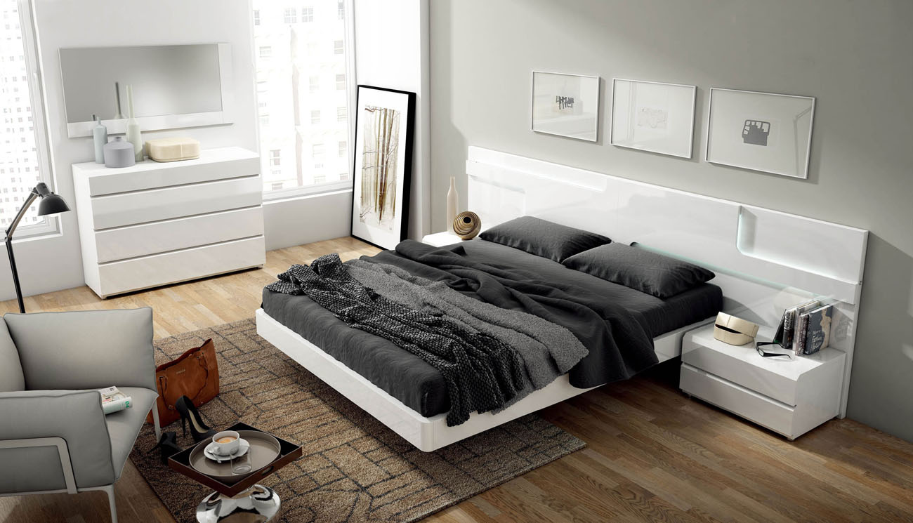 Lacquered made in spain wood modern platform bed with - Platform bedroom sets with storage ...