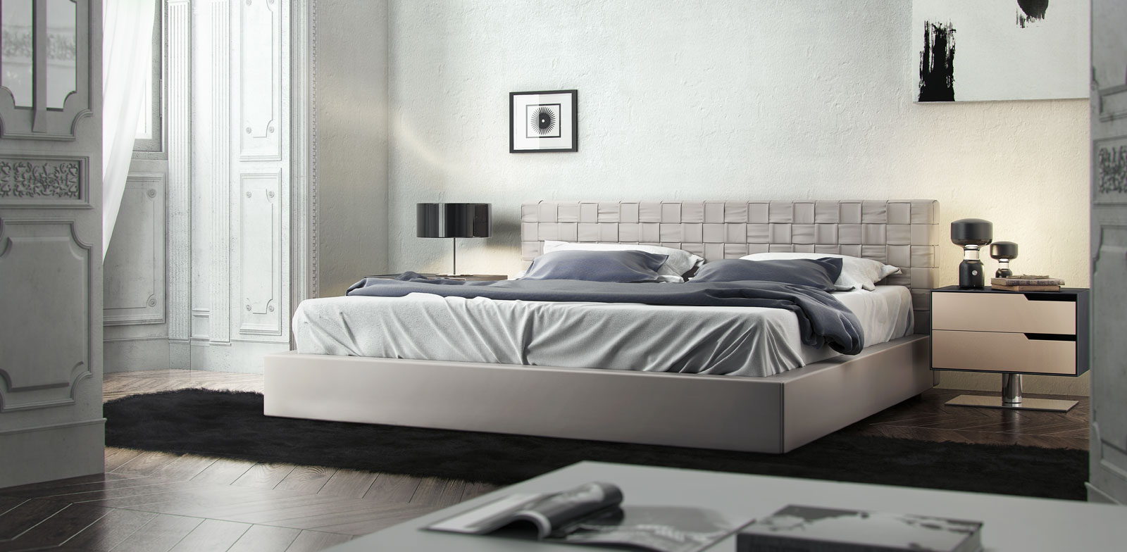 Elegant Leather Modern Platform Bed Sacramento California