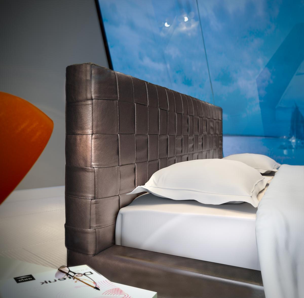 Elegant Leather Modern Platform Bed Sacramento California