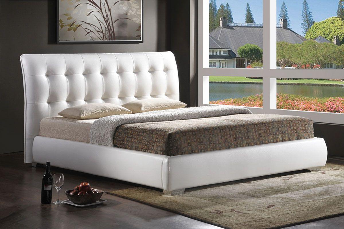 White leather high end platform bed san jose california wsijes - Luxury platform beds ...