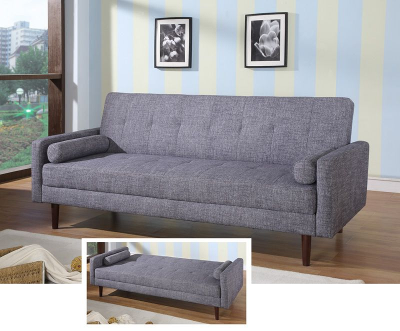 Contemporary Grey or Orange Fabric Sofa Sleeper Hardwood Frame ...