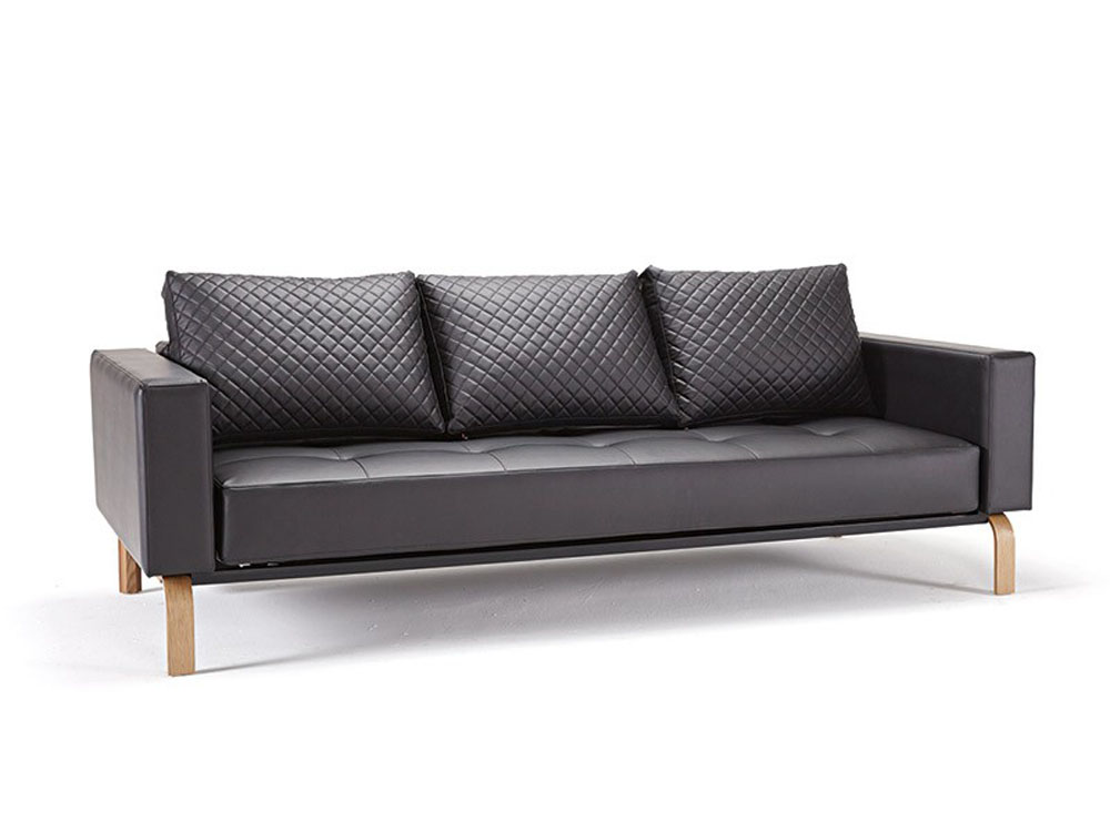 Black Leather Sofa Bed with Oak Legs