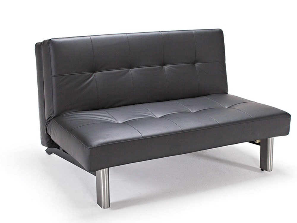 Tufted sleek contemporary black leather sofa bed anchorage for Tufted leather sleeper sofa