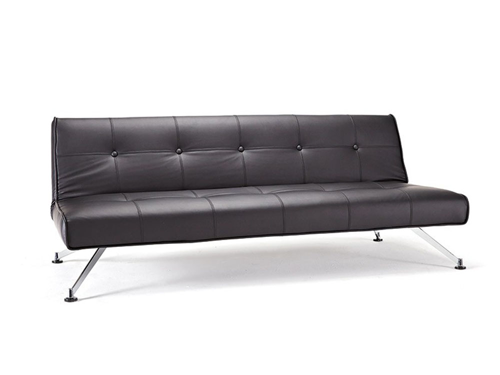 Contemporary tufted black leather sofa bed on chrome legs for Contemporary sofa