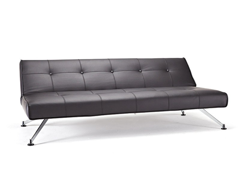 Contemporary tufted black leather sofa bed on chrome legs for Tufted leather sleeper sofa