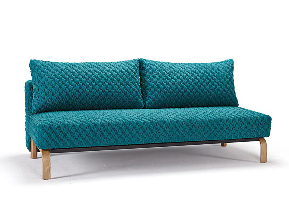 Blue contemporary sofa bed with texture upholstery and oak for Contemporary sofa