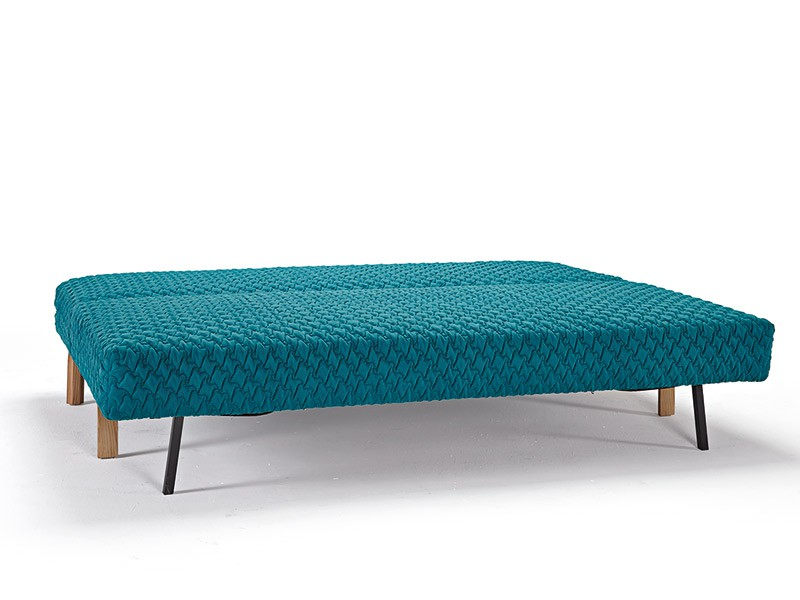Blue Contemporary Sofa Bed with Texture Upholstery and Oak Legs - Click Image to Close