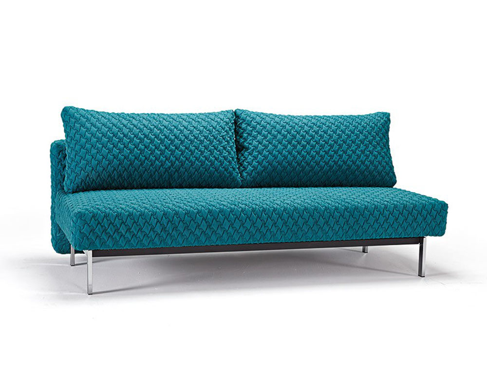 Petrol Blue Contemporary Sofa Bed With Texture Upholstery
