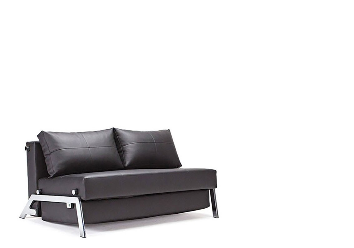 Black Or Dark Sahara Color Leather And Chrome Sofa Bed Scottsdale