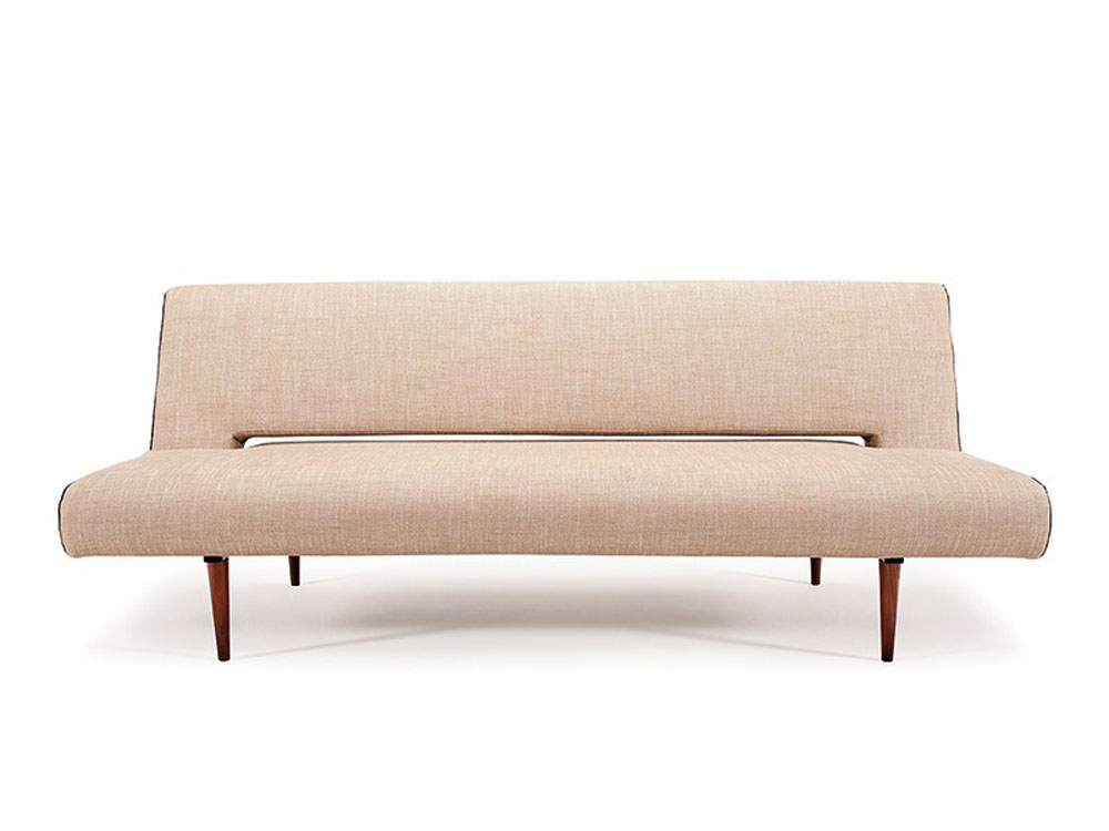 Contemporary natural fabric color sofa bed with walnut for Modern love seats