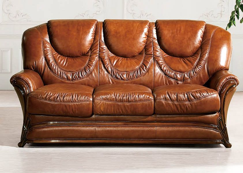 Brown Classic Italian Leather Sofa Set Prime Classic