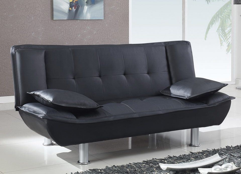 Black Bi-Cast Contemporary Convertible Sofa Bed with Metal Legs