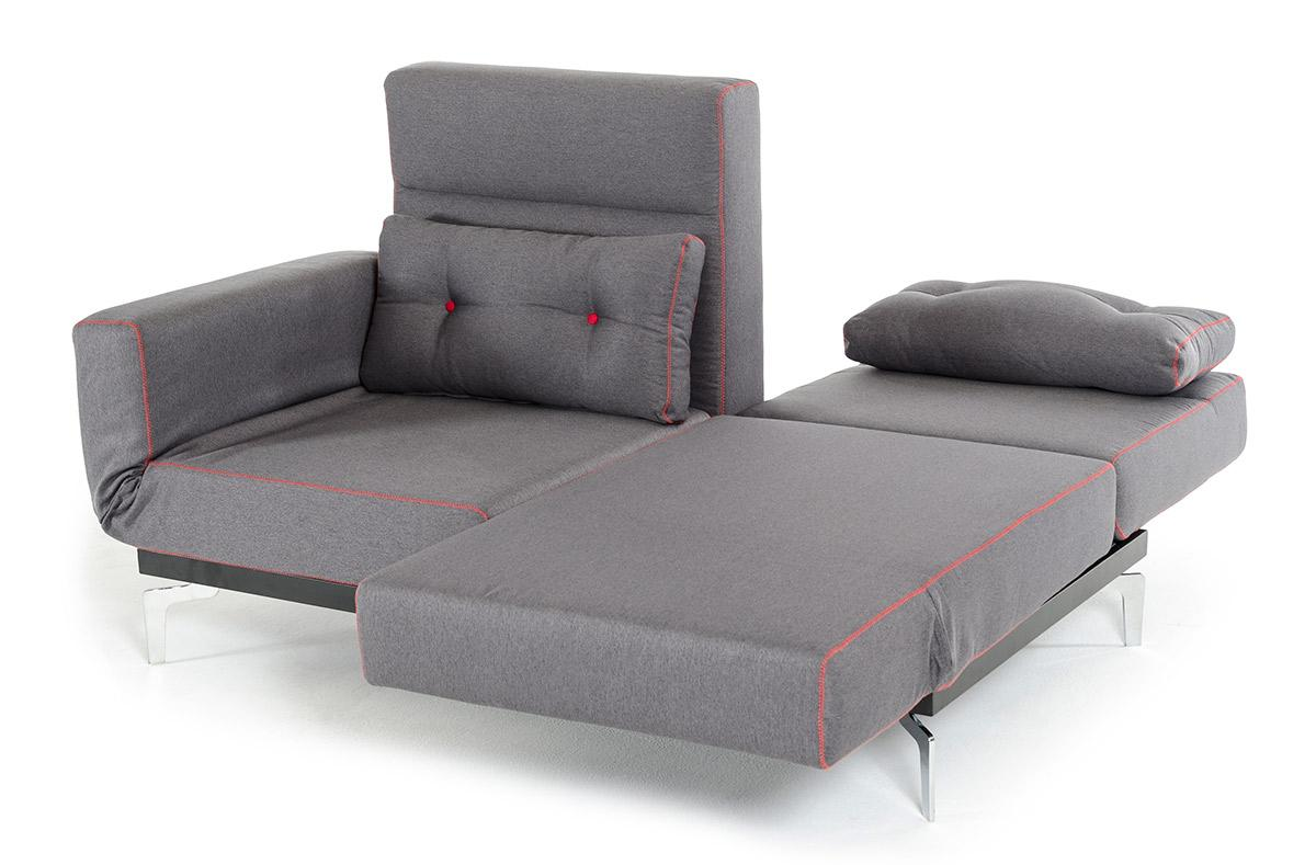 Grey Fabric Contemporary Convertible Sofa Bed Lincoln