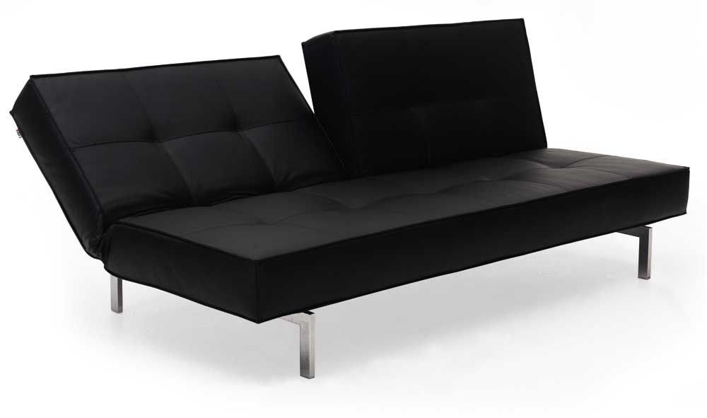 Black Leather Textile Convertible Sofa