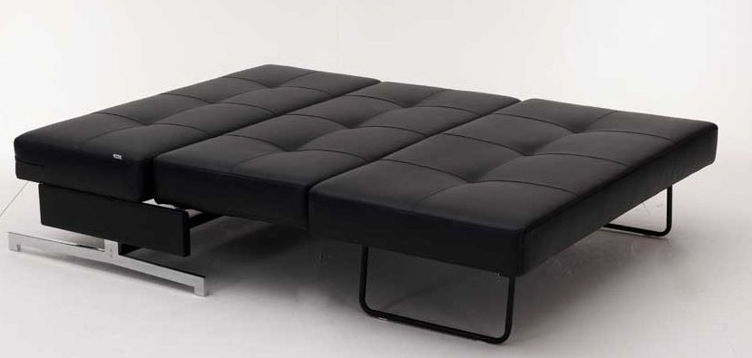 Leather Textile Contemporary Sofa Bed with Steel Frame Columbus