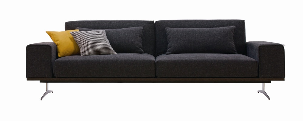 Contemporary Style Spacious Sofa Bed in Charcoal Grey Fabric